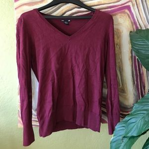H&M Basic burgundy/ ox blood v-neck sweater (M)